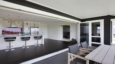 Open plan kitchen featured in award winning design interior design, real estate, window, gray, black