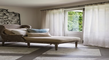 Harrisons Curtains - Harrisons Curtains - bed   bed, bed frame, chair, couch, curtain, floor, furniture, home, house, interior design, living room, room, table, textile, window, window blind, window covering, window treatment, wood, gray