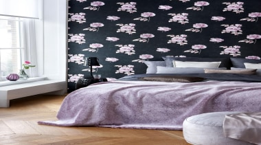 Gardens of Amsterdam Range - Gardens of Amsterdam bed, bed frame, bed sheet, bedding, bedroom, curtain, duvet cover, interior design, purple, room, textile, wall, wallpaper, window, window covering, window treatment, white, black
