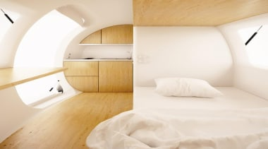 The world shrinks as we become more crowded architecture, bedroom, ceiling, floor, interior design, product design, property, room, suite, wood, white