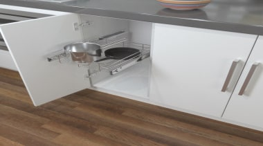 Pull out chromed wire drawers with a host countertop, drawer, floor, flooring, furniture, kitchen, product, product design, table, gray, brown