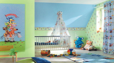 Villa Coppenrath Range - Villa Coppenrath Range - curtain, interior design, mural, nursery, product, room, textile, wall, wallpaper, teal, green