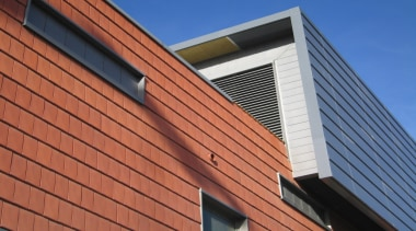 Monier Terracotta Tiles - Nullarbor as vertical cladding architecture, brick, brickwork, building, commercial building, corporate headquarters, daylighting, facade, home, house, line, real estate, residential area, roof, siding, sky, wall, window, wood, red
