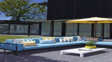 An exciting follow up to our popular Bondirange couch, furniture, home, interior design, outdoor furniture, outdoor structure, sunlounger, table, window, black