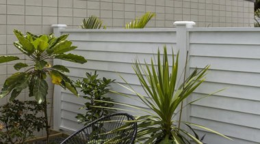 Simpler. Faster. Proven Weathertight. - A-lign Fencing - arecales, fence, flower, outdoor structure, palm tree, plant, tree, window, gray