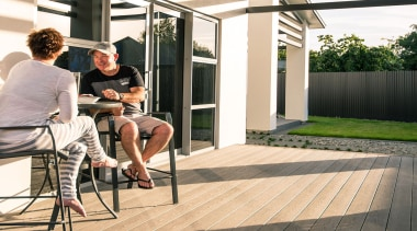 Enjoy walking barefoot on the splinter-free surface which deck, floor, flooring, home, house, outdoor structure, window, wood, white