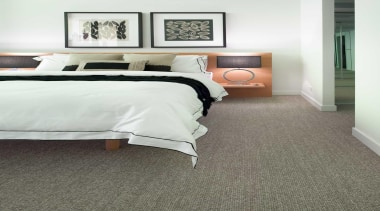 A smart-looking, chunky loop pile that is ideal bed, bed frame, bed sheet, bedroom, carpet, duvet cover, floor, flooring, furniture, hardwood, home, interior design, laminate flooring, room, suite, wall, wood, wood flooring, white, gray