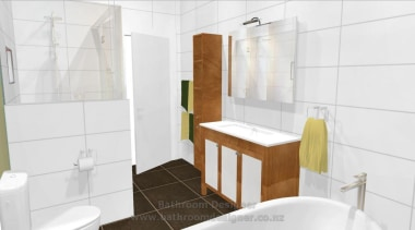 Bathroom Designer. This 3D image of proposed bathroom bathroom, bathroom accessory, bathroom cabinet, floor, home, interior design, property, room, tile, white