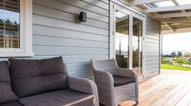 Modern Villa wall with timber weatherboards - Modern furniture, home, house, interior design, outdoor structure, porch, real estate, window, gray