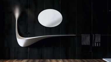'Wing' is a wall sink that looks as interior design, lamp, light fixture, lighting, plumbing fixture, product design, tap, black