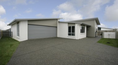 Award winning 'Bridget' town house in plaster and asphalt, building, elevation, estate, facade, garage, home, house, property, real estate, residential area, siding, gray
