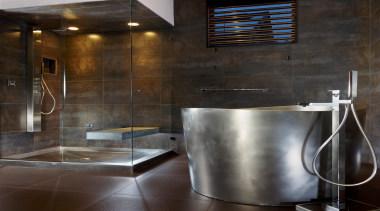 300dpi stainless japnese bath and shower pan.jpg - bathroom, countertop, floor, flooring, interior design, plumbing fixture, sink, tile, black, gray