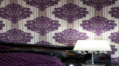 Bedroom with purple based wallpaper and a bedside decor, design, interior design, lilac, pattern, purple, wall, wallpaper, purple