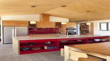 Kitchen with red accent and wooden furnitures - architecture, cabinetry, ceiling, countertop, floor, flooring, hardwood, interior design, kitchen, laminate flooring, living room, real estate, room, table, wall, wood, wood flooring, orange