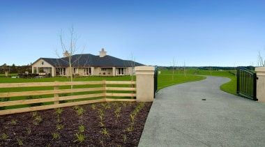 b0011p 0036a - b0011p_0036a - estate | farm estate, farm, fence, field, grass, home, house, land lot, landscape, lawn, outdoor structure, pasture, property, real estate, residential area, rural area, sky, walkway, teal