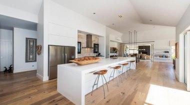 Choose from a range of engineered timber flooring countertop, floor, flooring, hardwood, interior design, kitchen, laminate flooring, property, real estate, wood flooring, gray