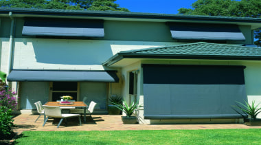 fabric awning - fabric awning - backyard | backyard, door, facade, home, house, property, real estate, residential area, roof, shade, shed, siding, window, yard, green, teal