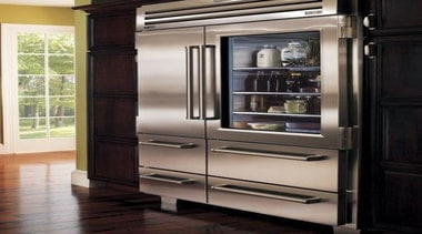 for when you have space in your kitchen cabinetry, chest of drawers, display case, furniture, home appliance, kitchen, kitchen appliance, major appliance, refrigerator, shelf, shelving, black, gray