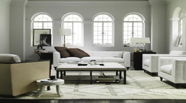 The work of William Sofield is defined not chair, coffee table, couch, floor, furniture, home, interior design, living room, loveseat, room, table, window, white, gray
