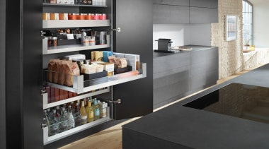 SPACE TOWER with LEGRABOX - countertop | display countertop, display case, furniture, interior design, kitchen, shelf, shelving, black, gray