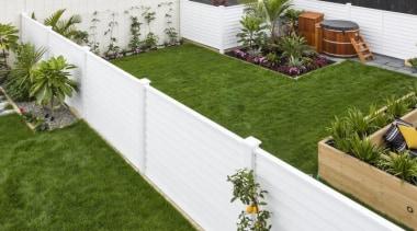 theblock2014057.jpg - theblock2014057.jpg - artificial turf | backyard artificial turf, backyard, courtyard, fence, garden, grass, landscaping, lawn, outdoor structure, plant, walkway, wood, yard, brown, white