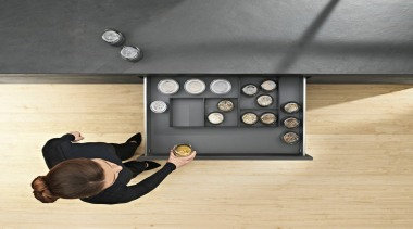 AMBIA-LINE inner dividing system – organization at its floor, flooring, furniture, product design, table, wood, orange, gray