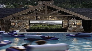 outdoor pool side theater....my family would never leave home, house, leisure, reflection, water, waterway, black