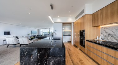 Kitchen featuring Gaggenau appliances and marble benchtops apartment, architecture, ceiling, estate, floor, flooring, house, interior design, living room, real estate, gray