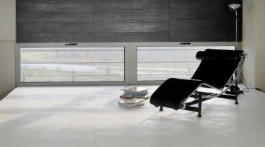 Concrete - chair | floor | flooring | chair, floor, flooring, furniture, interior design, living room, tile, window, gray