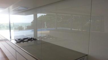 White Standard Glass Splashback.  The splashback looks architecture, daylighting, floor, glass, house, interior design, property, real estate, window, gray