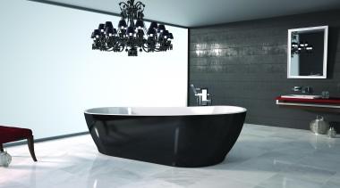 Caroma Noir Bath: a seamless freestanding bath with bathroom, bathtub, interior design, plumbing fixture, product design, room, tap, white, black