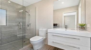 Tiled shower with frameless glass, vanity from Raymor, bathroom, floor, home, interior design, product design, property, real estate, room, gray