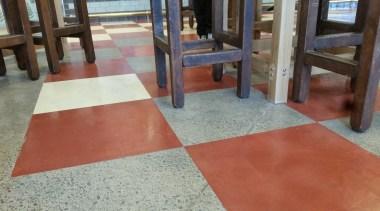 Micro Topping done at Toby Jugg Inn - chair, floor, flooring, hardwood, laminate flooring, tile, wood, gray, red