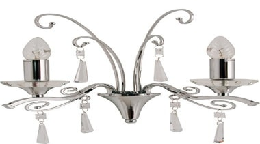 FeaturesThe Diaz wall light incorporates bright chrome arms ceiling fixture, light fixture, lighting, product design, white