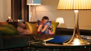 Philips Hue 02 - Philips Hue 02 - furniture, interior design, lighting, room, suite, table, brown, orange