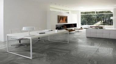 Galena study living floor tiles - Mineral D angle, chair, coffee table, floor, flooring, furniture, hardwood, interior design, laminate flooring, living room, table, tile, wood flooring, gray
