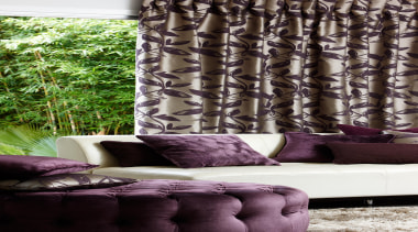 Komata - couch | curtain | decor | couch, curtain, decor, home, interior design, living room, purple, textile, tree, wall, window, window covering, window treatment, black