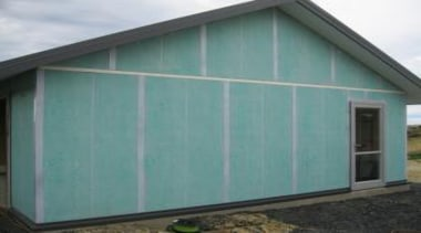 Pre - Cladding - Pre - Cladding - facade, garage, garage door, house, real estate, roof, shed, siding, window, teal, gray