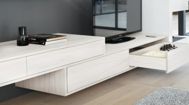 MOVENTO offers a feather-light glide for wooden drawers chest of drawers, coffee table, floor, furniture, sideboard, table, white, gray