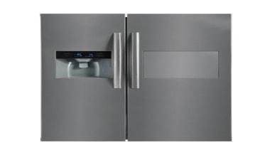 567L Side-by-Side Fridge FreezerGross Capacity: 567L348L Fridge + home appliance, kitchen appliance, major appliance, product, product design, refrigerator, gray, white