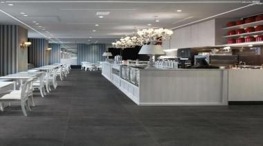 Blendstone dark dining interior floor tiles - Blendstone floor, flooring, interior design, tile, wood flooring, gray, black