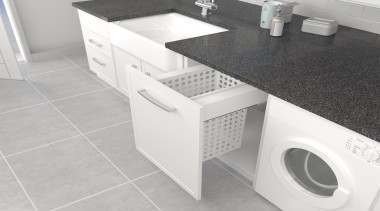 Simplex Plus pullout laundry basket options are available clothes dryer, countertop, floor, furniture, laundry, laundry room, major appliance, plumbing fixture, product, product design, sink, tile, washing machine, white