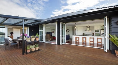 Fowler Homes Tauranga.Gold reserve winner and National finalist deck, home, house, interior design, outdoor structure, property, real estate, roof, window, white, brown