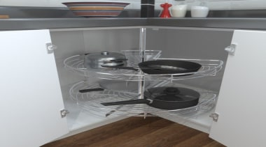 Giamo's 270° Revolving Corner Unit, with two plastic furniture, kitchen stove, shelf, shelving, gray, white