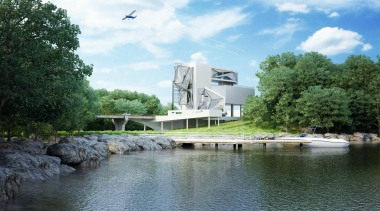 This home was designed for a retired pilot canal, property, real estate, reflection, river, sky, tree, water, water resources, watercourse, waterway, white
