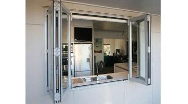 Windowmakers bi-fold windows run on an easy-slide track door, glass, window, gray, white