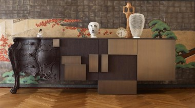 Many pieces of furniture mix traditional design with chest of drawers, floor, flooring, furniture, hardwood, interior design, sideboard, table, wood, brown, black