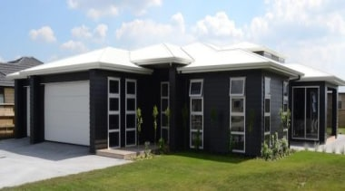 """Featuring """"Aniston"""" Fowler Homes Waikato Cambridge showhomeFowler Homes facade, home, house, property, real estate, roof, window, white, black"""