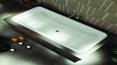 Caroma Cube Island Bath: A stylish rectangular bath bathroom sink, bathtub, glass, hardware, plumbing fixture, product design, sink, tap, black, white
