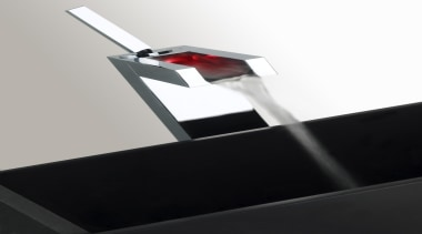 With the Rettangolo Colour faucet, users watch the product design, tap, white, black